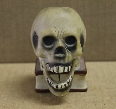 Vintage Halloween Skull with Moving Jaw on Book Candle Holder Bisque Japan 0459