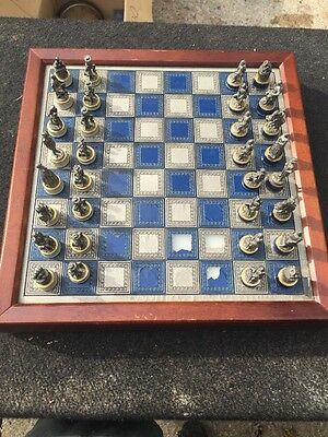 The Franklin Mint CIVIL WAR CHESS SET National Historical Society 1983 Pewter