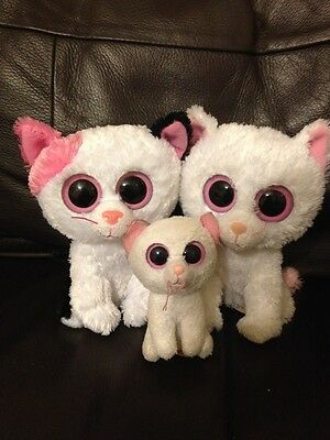 Ty Beanie Boo Cat Bundle 2 Small 1 Key ring Cats Muffin Cashmere