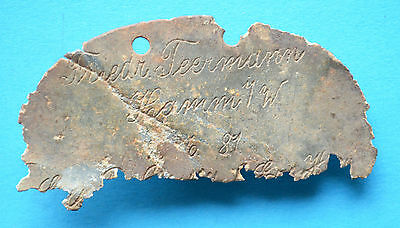 WW1 German soldier painted tag token (Rare)
