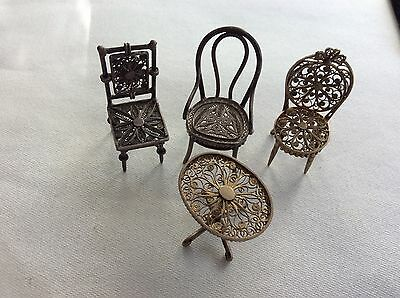 Miniature Silver Filigree Chairs Table Lot