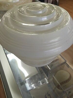 Vintage Frosted & Clear Glass Art Deco Ceiling Light Dome Shade And Fixture 8""