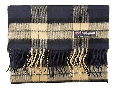 100% CASHMERE Scarf Navy Blue Tan Check Plaid Warm Graham SCOTLAND Wool Men