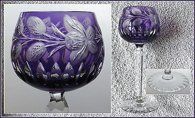 AMETHYST PURPLE Wine Glass Goblet Hock CUT TO CLEAR 24% CRYSTAL Bavaria GERMANY