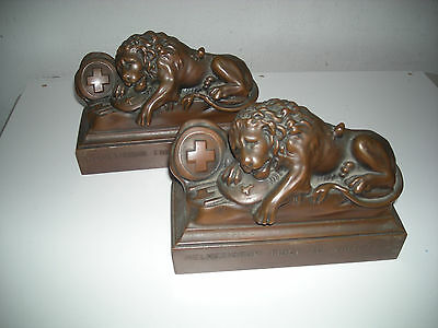 Vintage Bronze Toned Lucerne Dying Lion bookends, Jennings Brothers