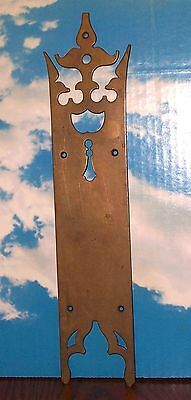 "Antique Cast Brass Large 15-1/2"" Door Plate, Gothic"
