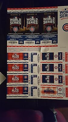 2016 Chicago Cubs Mlb Playoffs Ticket Stubs Sheet All Playoff Games Free Ship
