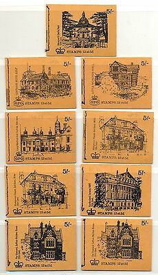 England Uk  Stamp Booklets   9 Dif  5  Sh.  ** Mnh   Vf  Houses