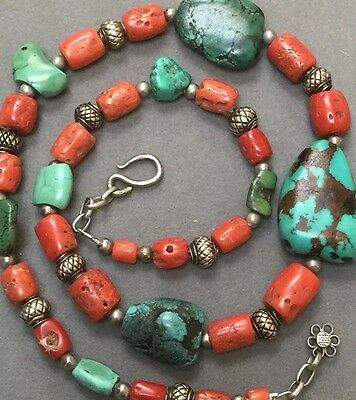 Antique Chinese Tibetan Turquoise Red Coral Silver Trade Bead Necklace