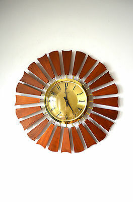 60S Stylish Retro Anstey & Wilson Sunburst Starburst Teak Wall Clock