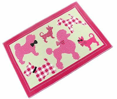 Childrens Chihuahua Poodle Puppy Dogs Pink Anti Slip Bedroom Rug Mat 60 X 90Cm