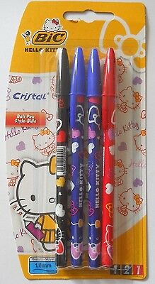 BIC Pack of 4 Hello Kitty Ball Point Pens Black, Blue & Red Ink  - New & Sealed