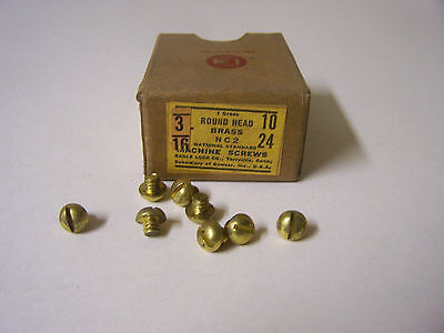 """10-24 x 3/16"""" Round Head Solid Brass Machine Screw Slotted Made in USA -Qty. 144"""