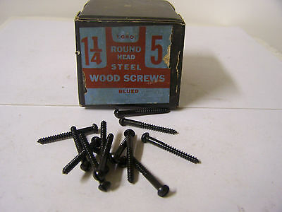 """#5 x 1 1/4"""" Round Head Blued Wood Screws Slotted Vintage Made in USA Qty 144"""