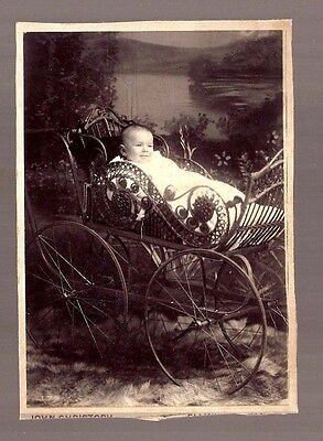 BEAUTIFUL BABY BUGGY STROLLER CABINET CARD PHOTO Victorian rare vintage art USA