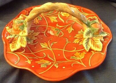 "Fitz And Floyd Bountiful Collection 13"" Handled Basket Bowl Dessert Plate"