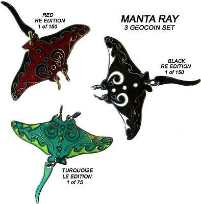 Manta Ray - 3 Geocoin Set - New - G - Unact - Sold Out - Collectable