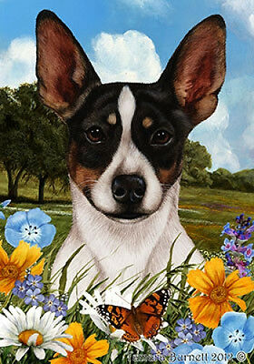 Garden Indoor/Outdoor Summer Flag - Rat Terrier (Tri) 181301