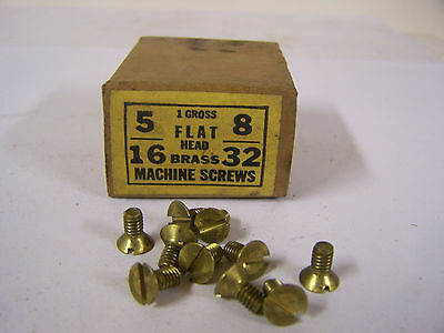 """8-32 x 5/16"""" Flat Head Solid Brass Machine Screw Slotted Made in USA  Qty 125"""