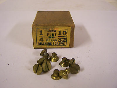 """10-32 x 1/4"""" Flat Head Solid Brass Machine Screw Slotted Made in USA  Qty 125"""