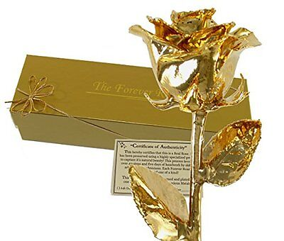 The Forever Rose 24K Gold Dipped Real Rose w/ Gold Gift Box!