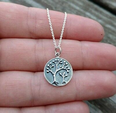 Pure 925 Sterling Silver Family Tree of Life Necklace Women's Men's Jewelry Gift