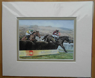 War of Attrition /Hedgehunter Mini Double Mounted Fine Art Print Horse Racing