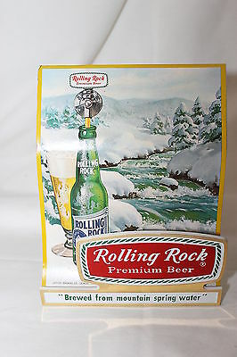 "Vintage Rolling Rock Plastic Counter Table Display Sign Advertisment 6"" X 5"" X"