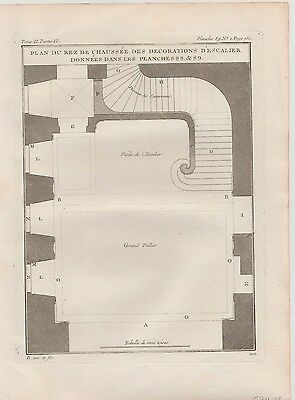 1737 Two Antique Engravings - Staircase & Chapel Details  - Jacques Blondel