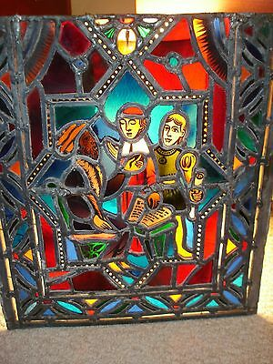Hand made 18th century lead stain glass window pane Russian religious men scroll