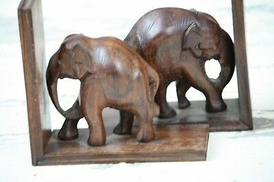 Elephant Bookends Carved Wood Dark wood Hand Crafted Vintage Petite