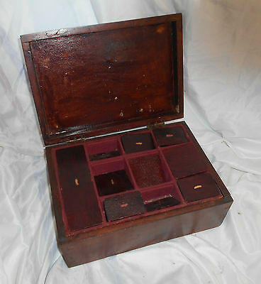 Antique Large WRITING Stationary Box Storage DESK Secret Drawer COMPARTMENTS