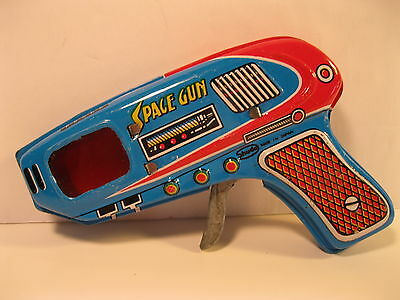 SPACE RAY GUN BLUE 1970's TIN LITHO MINT SHUDO JAPAN SPARKING WORKS VINTAGE