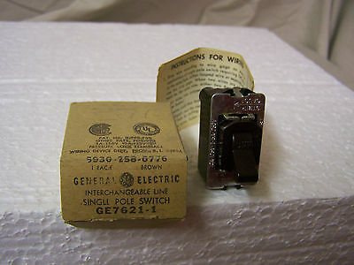 Single Pole Switch Vintage GE 7621-1 Brown Interchangeable Line Despard Style