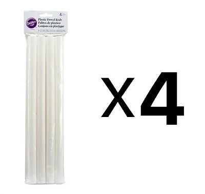 "Wilton Dowel Rods White 4 Pack Hollow Plastic 12.75"" Length X 0.75"" D (4-Pack)"
