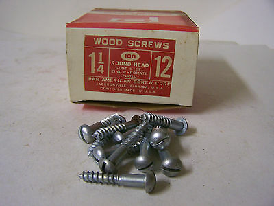 "12 x 1 1/4"" Round Head Zinc Chromate Plated Wood Screws Slotted USA Made Qty 100"