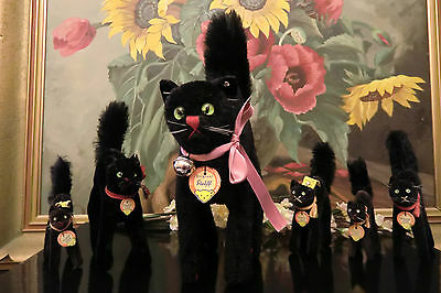 early STEIFF 7322 Scary black Tom Cat 21/35 cm Halloween with IDs VGC 1950ies