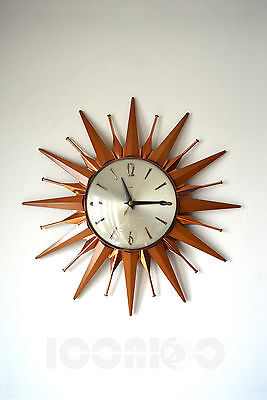 Fabulous Iconic Retro Vintage Metamec Sunburst Starburst Wall Clock
