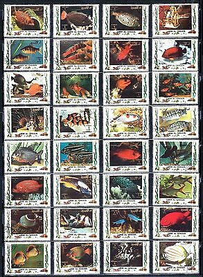 UMM-AL-QIWAIN Fish & Marine Life Stamps Assorted Lot of 32