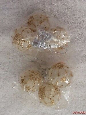 Darice 9 - 35mm STEMMED OPAQUE BALLS WITH GLITTER for Christmas Tree or Wreath