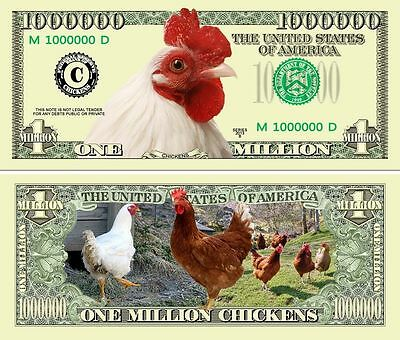 Chickens Novelty Dollar Bill With Semi Rigid Protector & Free Shipping
