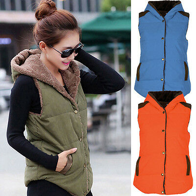 Women's Warm HOODIE COAT Fleece Vest Sleeveless Winter Jacket Hooded Waistcoat