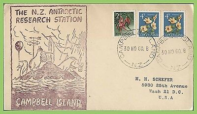 New Zealand 1960 Multifranked Cover to USA, Campbell Island cachet