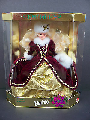 Nib Barbie Doll 1996 Happy Holidays Holiday Christmas Purple/gold Gown