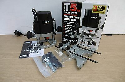 """Trend T5E T5Eb 1000W Plunge Router 1/4"""" Collet 240V + Ss11 6Pce 1/4"""" Cutter Set"""