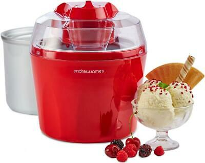 New Andrew James Red Ice Cream Maker 1.5 Litre With Spare Inner Freezer Bowl