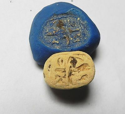 Zurqieh -Af919- Ancient Egypt , New Kingdom Steatite Scarab. 1400 B.c