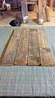 "4 pc RECLAIMED BEECH BARN LUMBER WOOD BOARD 3/4"" THICK"