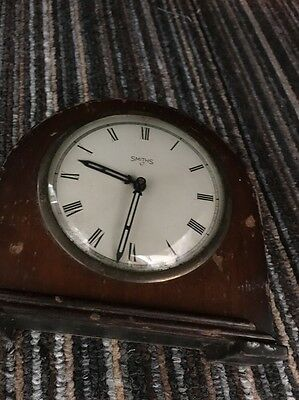 Vintage Smiths 1940s Wooden Mantel Clock  For Repair