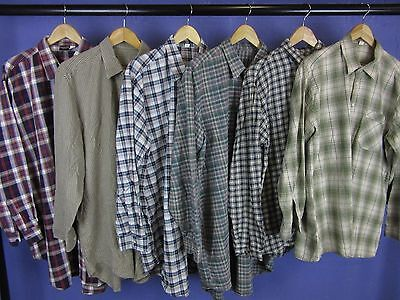 6 x VINTAGE CHECK FLANNEL NIGHTSHIRTS LONG SLEEVE WHOLESALE JOB LOT 42''-48''